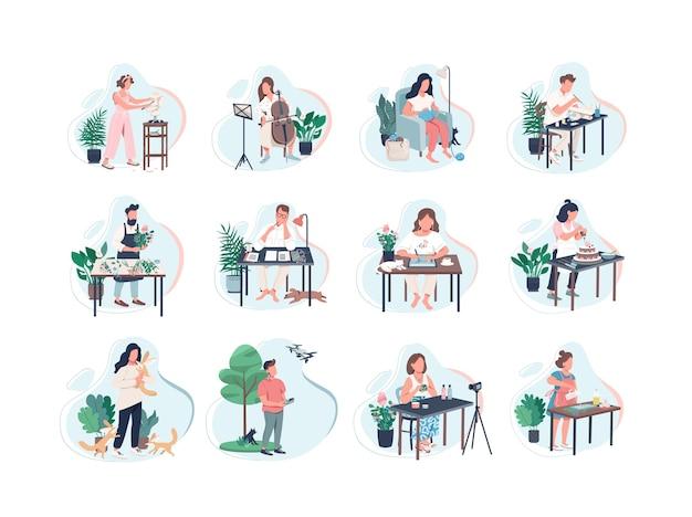 취미 활동 평면 색상 익명의 문자가 설정됩니다. 악기 수업. 드론으로 사진 촬영. 비디오 제작. 새로운 기술 학습 흰색 배경에 고립 된 만화 삽화