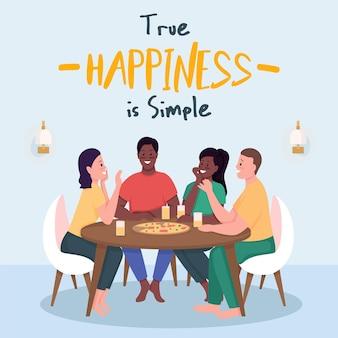 Макет сообщения в социальных сетях. истинное счастье - это простая фраза. шаблон дизайна веб-баннера. бустер веселой активности, макет контента с надписью. плакат, печатная реклама и плоская иллюстрация