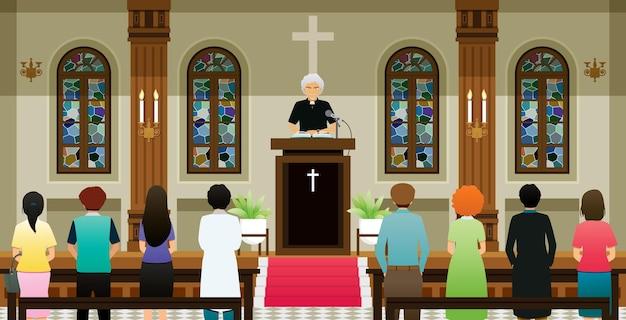 牧師は大衆の話を聞いて教会で説教していました