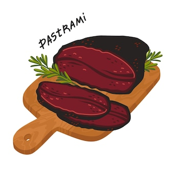 Pastrami meat delicatessen on a wooden cutting board