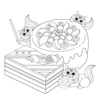Pastries adult coloring page illustration