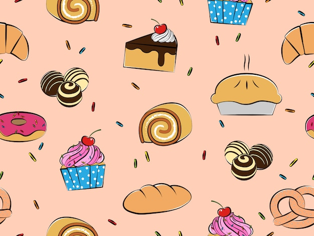 Бесшовный узор из выпечки и десертов, рисованный стиль