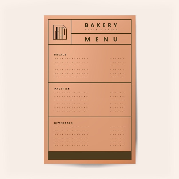 Pastries and beverages menu template vector