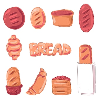 Pastries and bread cartoon set