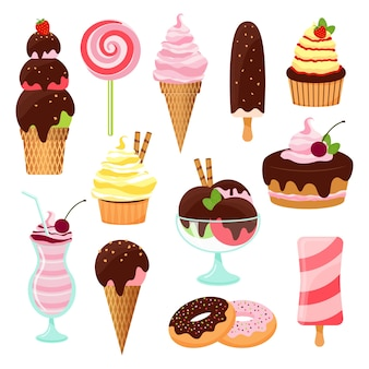 Pastries  cakes and ice cream set with an ice cream cone and lolly  cupcake  cake  cookies  donuts  milkshake  dessert and lollipop with icing  chocolate and cherries  vectors on white
