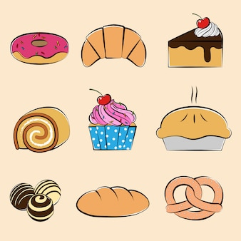 Pastries and desserts collection set, hand-drawn style
