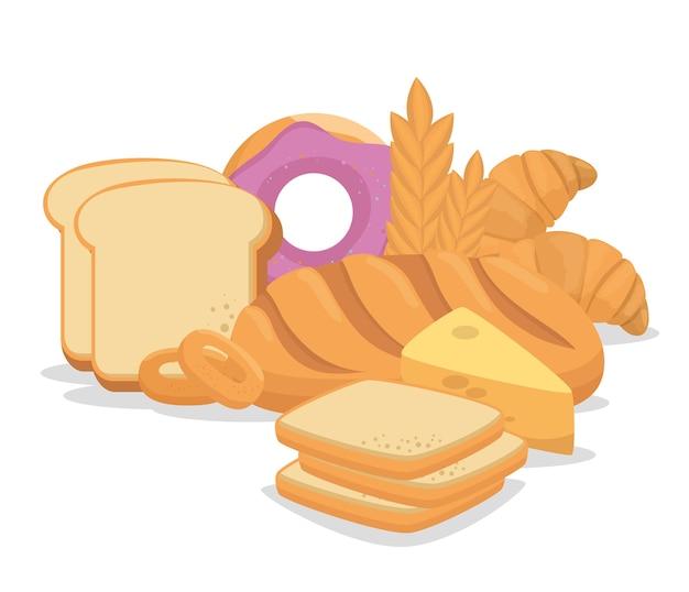 Pastry bakery nutritive food vector illustration design
