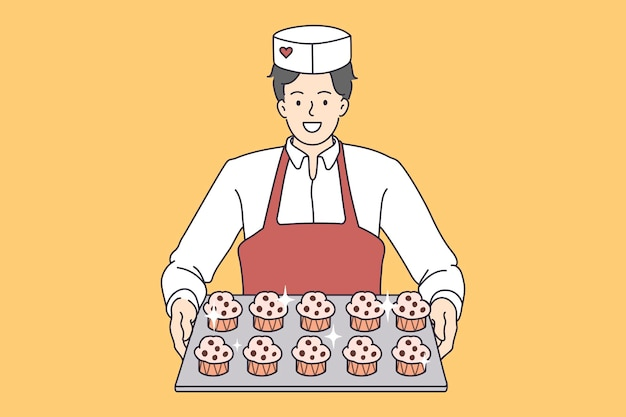 Pastry baking worker with cupcakes tray. vector concept illustration of desserts baker serving sweet muffins.