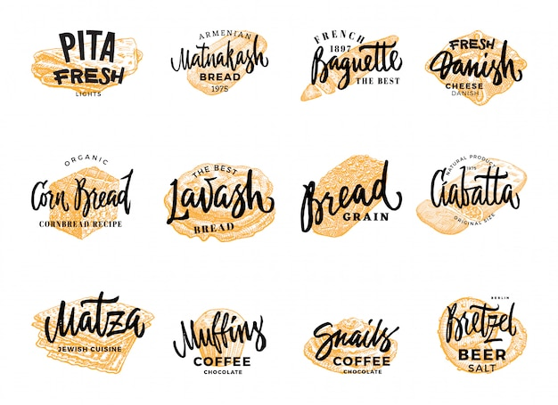 Pastry and bread logotypes set