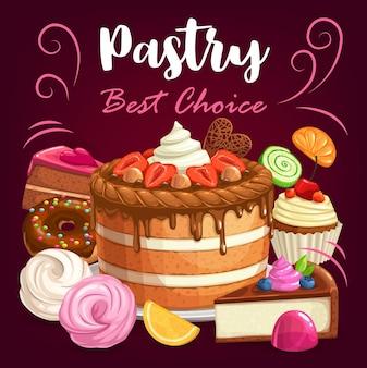과자 케이크, 디저트 및 베이커리 숍 달콤한 컵 케이크, 포스터. 달콤한 페이스트리, 초콜릿 케이크, 치즈 케이크, 베리 머핀을 곁들인 도넛, 수플레 비스킷 및 마멀레이드가 포함 된 제과점 디저트 메뉴