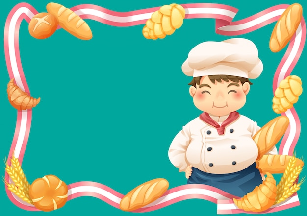 Pastry chef and bakery ribbon border