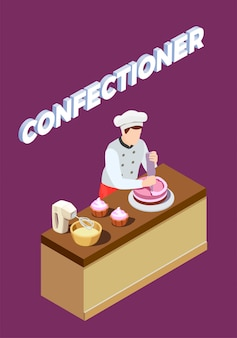 Pastry chef isometric background