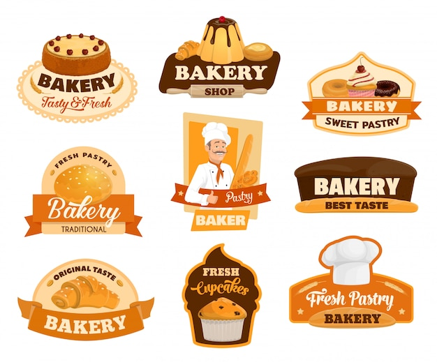 Pastry dessert cakes, patisserie bakery shop signs