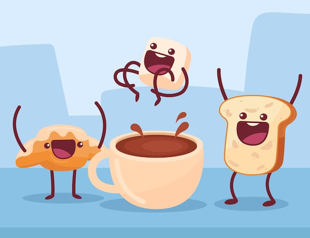 Pastry having fun cartoon illustration