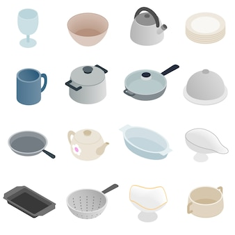 Pastry set icons