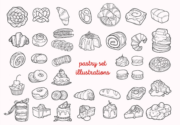 Pastry set illustrations