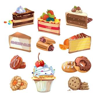 漫画風のペストリーセット。フードケーキ、甘いパン屋、クリームとおいしいスナック、ベクトルイラスト