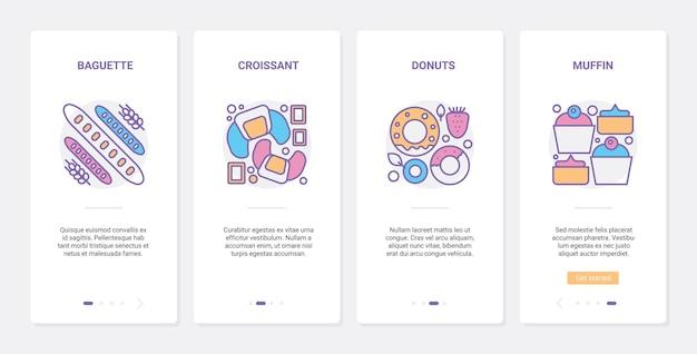 Кондитерская, иллюстрация продуктов питания кафе пекарни.