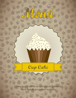 Pastry shop menu with cup cake  vector illustration