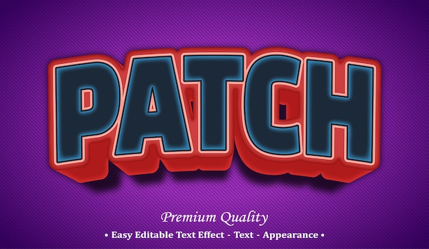 Patch 3d editable text style effect
