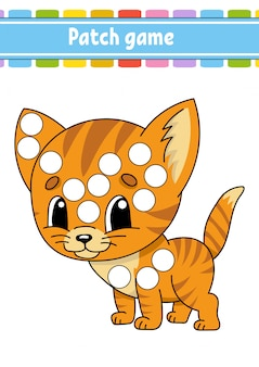 Patch game for children. do a dot coloring page.