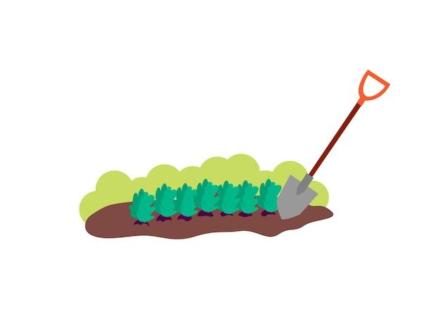 Участок коричневой почвы с растениями и лопатой мультяшный кусок земли