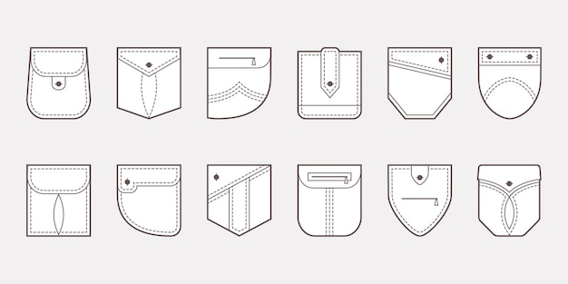 Patch pocket icons buttons and line seam illustration Premium Vector