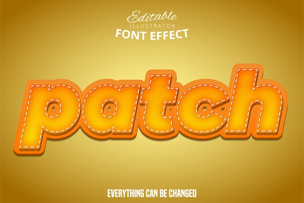 Patch text, 3d orange and yellow editable font effect
