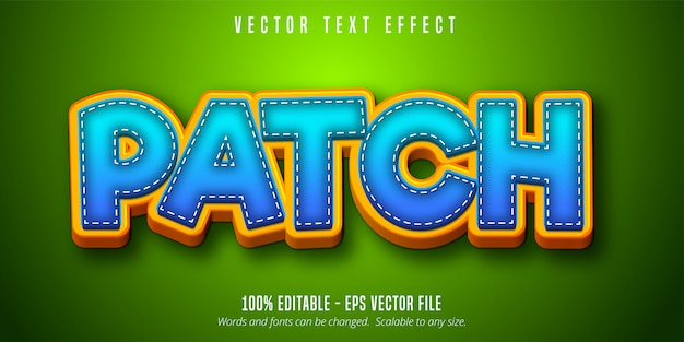 Patch text, cartoon style editable text effect