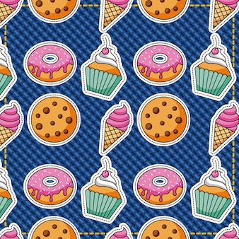 Patches dessert food pattern cookies ice cream donut
