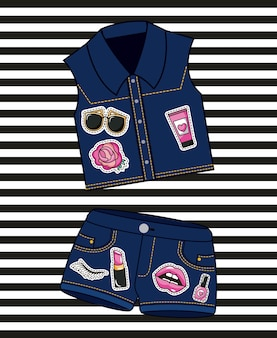 Patches fashion denim shorts and vest female