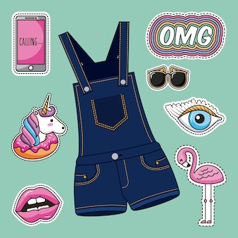 Patches fashion overalls clothes image