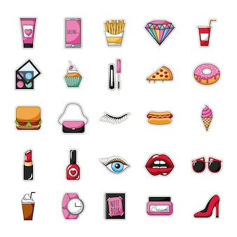 Patches fast food dessert female accessories background