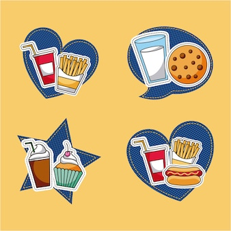 Patches fast food Premium Vector
