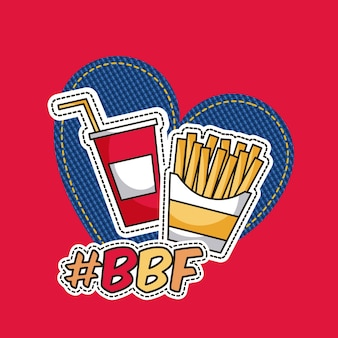 Patches french fries and soda bbf vector illustration