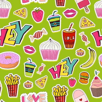 Patches seamless pattern with food