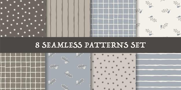 Patchwork seamless patterns set premium vector