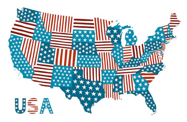 Patchwork vector map of the usa.