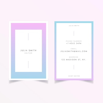 Concetto di colore patel per la progettazione di biglietti da visita
