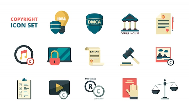Patent copyright icons set