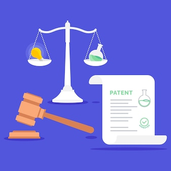 Patent law concept with balance scale