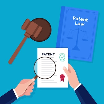 Patent law concept with documents