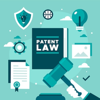 Patent law elements and hand Free Vector