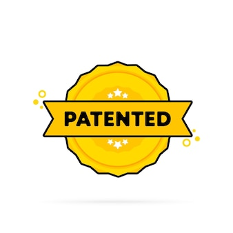 特許取得済みのスタンプ。ベクター。特許取得済みのバッジアイコン。認定バッジロゴ。スタンプテンプレート。ラベル、ステッカー、アイコン。ベクトルeps10。白い背景で隔離。