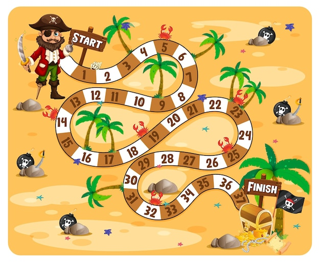 Path board game pirate theme illustration