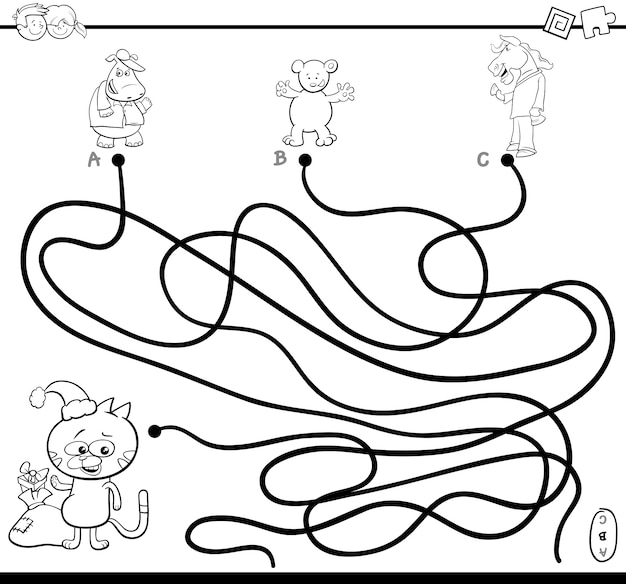 Path maze game coloring page