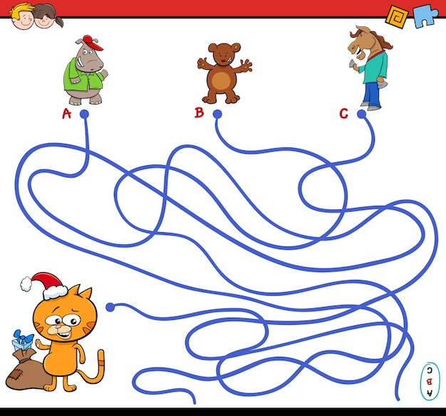 Path maze game with animal characters