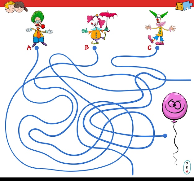 Путь лабиринт игры с клоунами и воздушный шар