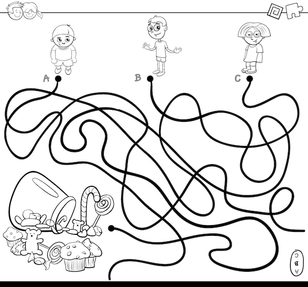 Paths maze with kids and candy coloring book