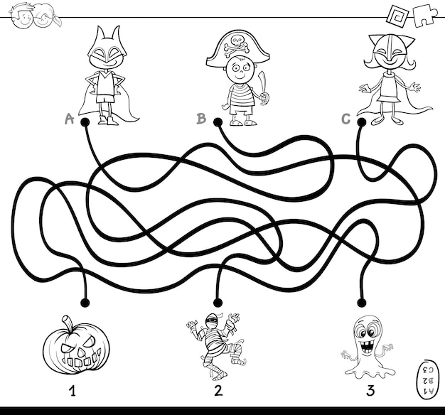 Paths maze with kids coloring book